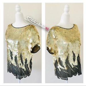Vintage Oleg Cassini Mermaid Sequin Blouse